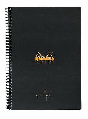 Rhodia Wiredbound - Notebook - Black - Lined - Meeting Book - 6.5 X 8.25 New