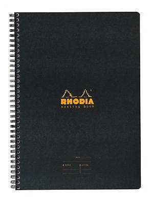 Rhodia Wiredbound - Notebook - Black - Lined - Meeting Book - 6.5 X 8.25 New