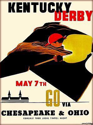 Kentucky Derby Horse Race Vintage Railroad Travel Advertisement Art Poster Print