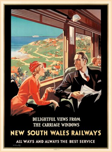 New South Wales Railways Australia Vintage Railroad Travel Advertisement Poster