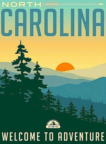 North Carolina United States Retro Travel Home Wall Decor Art Deco Poster Print