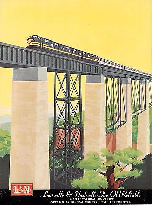 Louisville & Nasville Old Reliable Locomotive Travel Railroad Train Art Poster