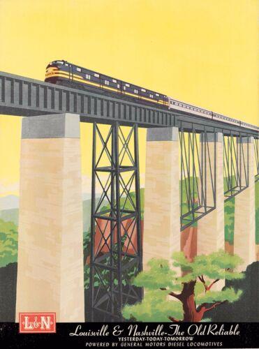 Louisville & Nashville Old Reliable Locomotive Travel Railroad Train Art Poster