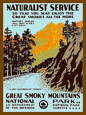 North Carolina Great Smoky Mountains National Park Vintage Travel Poster Print