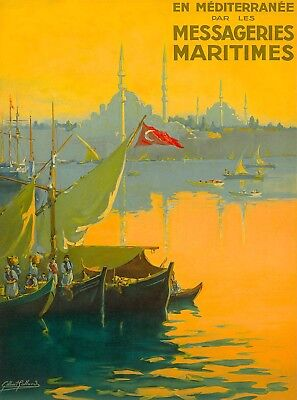 Messageries Maritimes Istanbul Turkey Vintage Travel Art Advertisement Poster