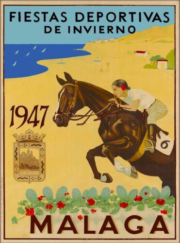 Malaga Fiestas Deportivas Spain Spanish Riviera  Vintage Travel  Poster Print