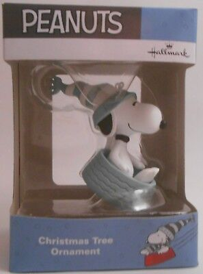 Hallmark Peanuts Snoopy Sledding in Dog Bowl BLUE WHITE Ornament NEW 2017 Pastel