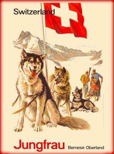 Jungfrau Bernese Alps Switzerland Suisse Vintage Travel Advertisement Poster