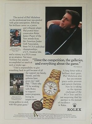 Rolex Oyster Perpetual Day-Date Chronometer 18k Gold Watch Phil Mickelson Ad