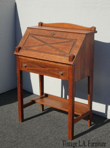 Vintage French Country Brown Drop Leaf Desk w Mail Slots File Cabinet