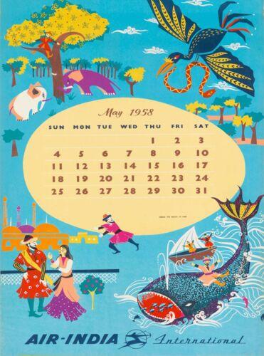Calendar from May 1958 Air-India Vintage India Travel Art Poster Print