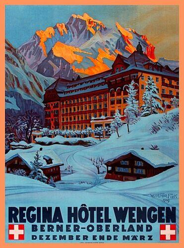Berner-Oberland Switzerland Snow Vintage Travel Advertisement Art Poster Print