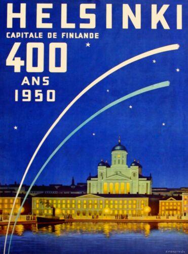 Helsinki Capital of Finland Scandinavia Vintage Travel Art Poster Print