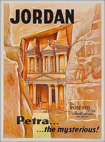 Petra the mysterious Jordan Middle East Travel Vintage Advertisement Art Poster
