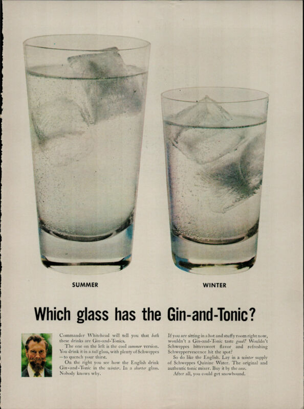 1956 Schweppes Gin and Tonic Two Glasses Summer Winter Vintage Print Ad 2729
