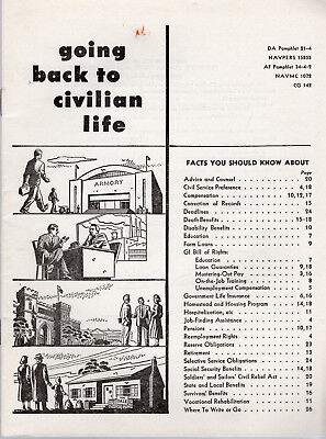 """Vintage (1953) Document: Navy """"Going Back To Civilian Life"""" NAVPERS 15855"""