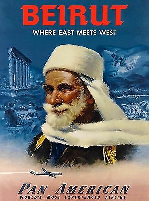 Beirut Lebanon Pan American Airplane Vintage Travel Art Advertisement Poster