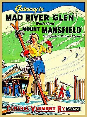 Mad River Glen Ski Mount Mansfield Vermont United States Vintage Travel Poster