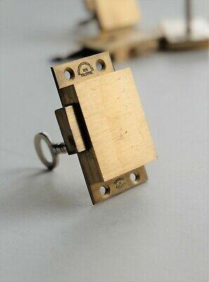 Unused CAST BRASS 2 LEVER Straight Cabinet Furniture Cupboard Lock 55mm x 32mm