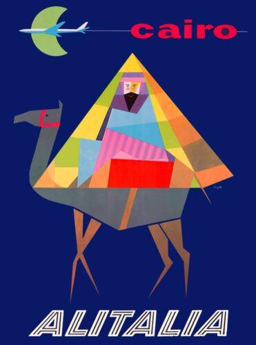 Egypt Cairo Camel Airplane Egyptian Vintage Travel Advertisement Art Poster 2
