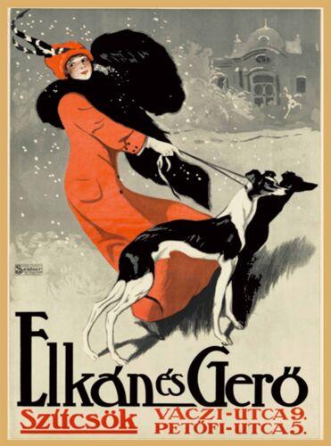 Elkán és Gerö Budapest Hungary Greyhound Vintage Travel Advertisement Poster