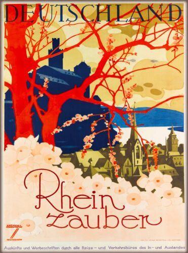 Deutschland - Rhein Zauber Germany German  Vintage Travel Advertisement Poster