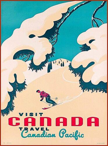 Visit Canada Canadian Pacific Ski Vintage Travel Advertisement Art Poster Print