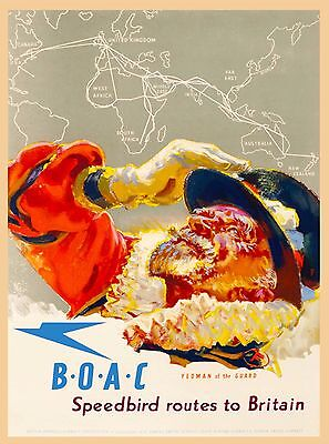 B O A C England Great Britain Vintage Airline Travel Advertisement Poster Print