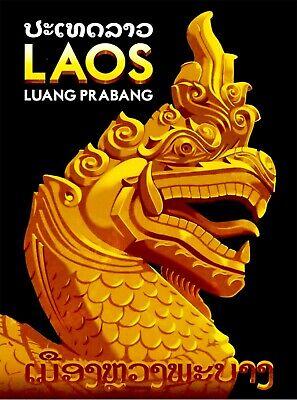 Laos Dragon Statue Luang Prabang Asia Vintage Travel Advertisement Art Poster
