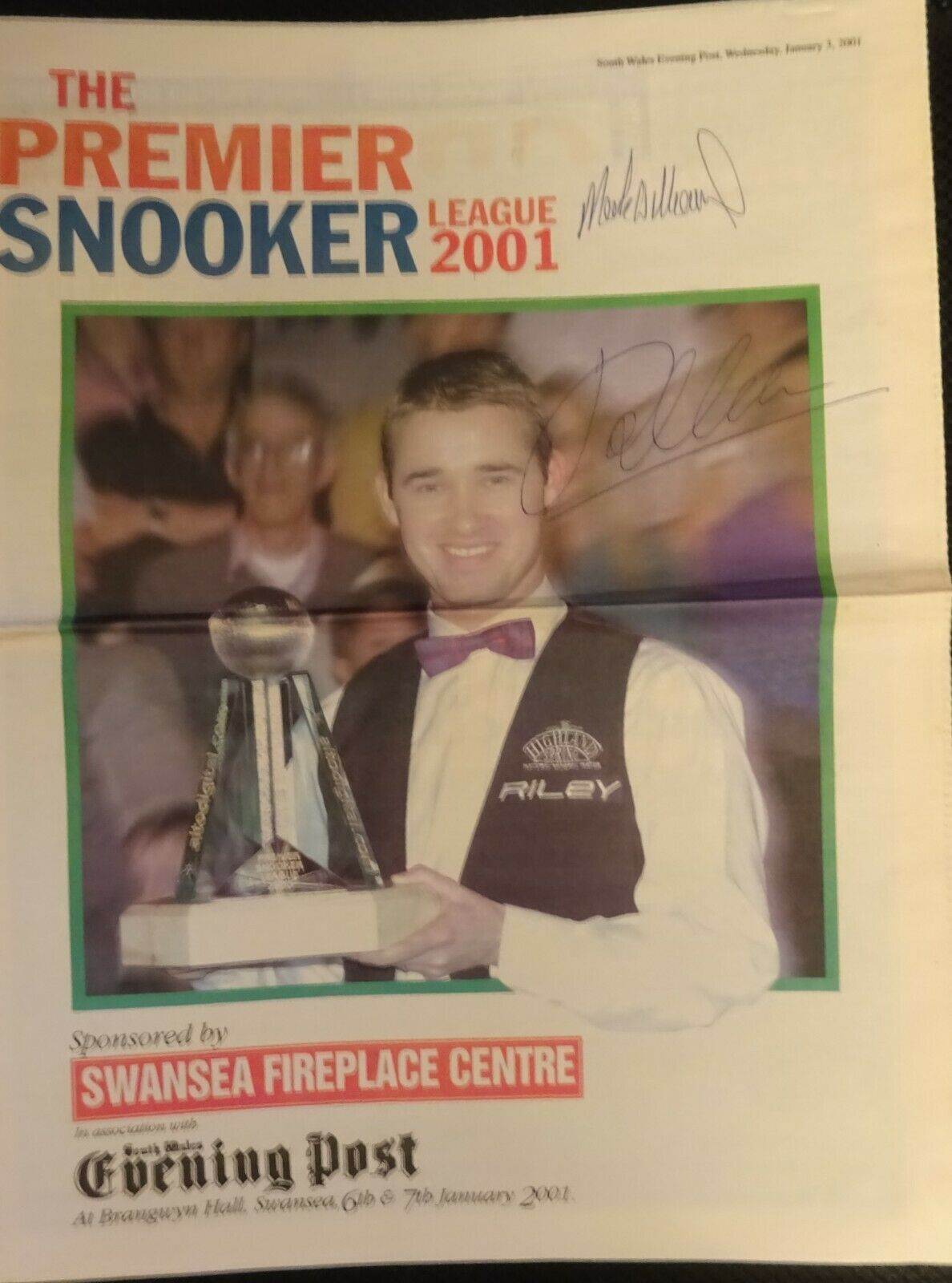 2001 THE PREMIER SNOOKER LEAGUE  Signed by 2    SW Eve Post Special  12 page iss