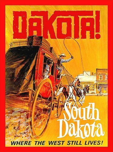South Dakota Where the West Still Vintage United States Travel Art Poster Print