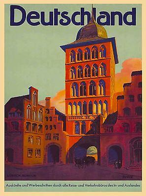 Deutschland Germany Vintage German Travel Advertisement Art Poster Print