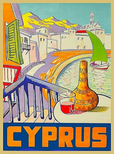 Island of Cyprus Vintage Travel Home Collectible Wall Decor Art Poster Print