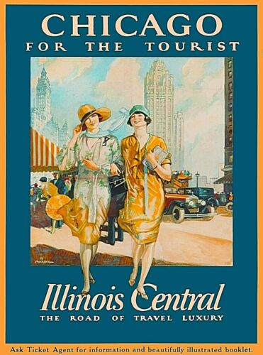 Chicago for the Tourist Illinois Central Vintage Travel Art Poster Print