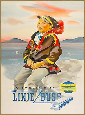 Linje Buss To Sweden Swedish Scandinavia Vintage Travel Advertisement Poster