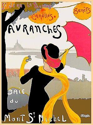 Avranches Baie du Mont St Michel Normandy France Vintage Travel Art Poster Print