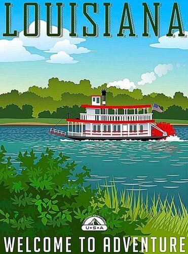 Louisiana Welcome to Adventure Travel Wall Decor Advertisement Art Poster Print
