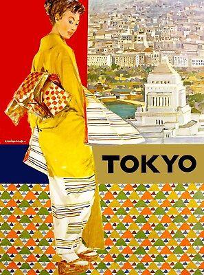 Tokyo Japan Girl  Yellow Jacket  Vintage Asia Travel Advertisement Poster Print