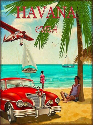 Cuba Cuban Havana Caribbean Retro Travel Advertisement Art Poster Print