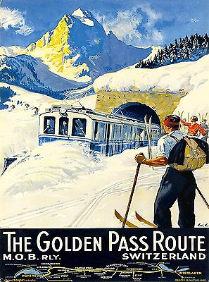 The Golden Pass Route Switzerland Swiss European Travel Advertisement Poster