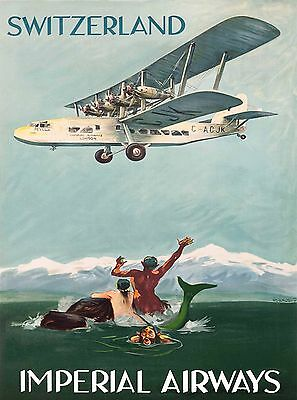 Switzerland Mermaid Merman Imperial Airways Vintage Travel Advertisement Poster