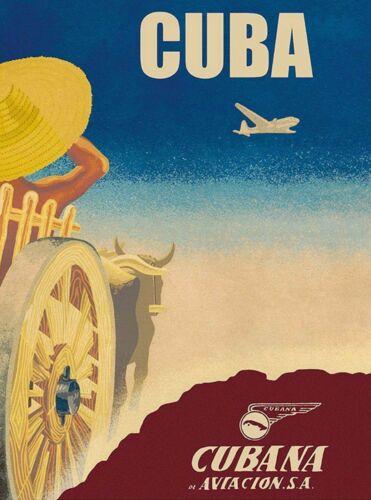 Cuba Cuban Cubana Aviacion Vintage Travel Airlines Advertisement Poster Print