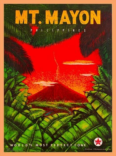Mt. Mayon The Philippines Vintage Travel Wall Decor Art Poster Print