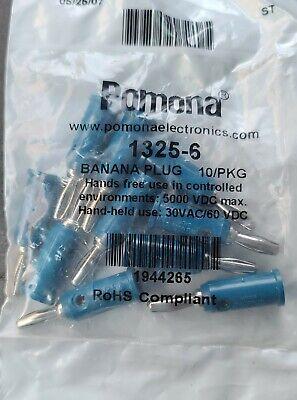 New 10 Pcs Pomona 1325-6 Blue Banana Plug 5000vdc Hand 30vac60vdc