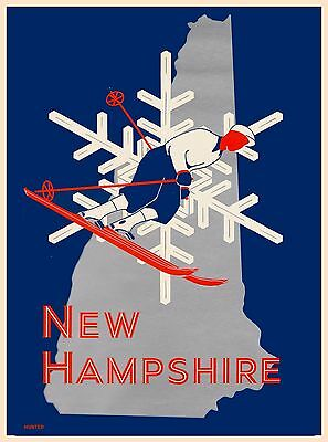 New Hampshire Ski United States America Vintage Travel Advertisement Art Poster