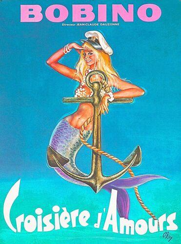 Bobino Pin-Up Mermaid France Vintage Travel Advertisement Art Poster Print