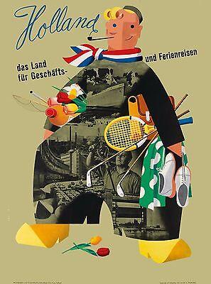 Holland Dutch Netherlands das land fur  Europe Travel Advertisement Poster