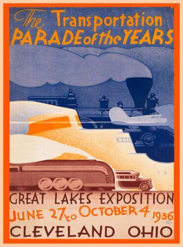 1936 Cleveland Ohio Parade Vintage Railroad U.S. Travel Advertisement Poster