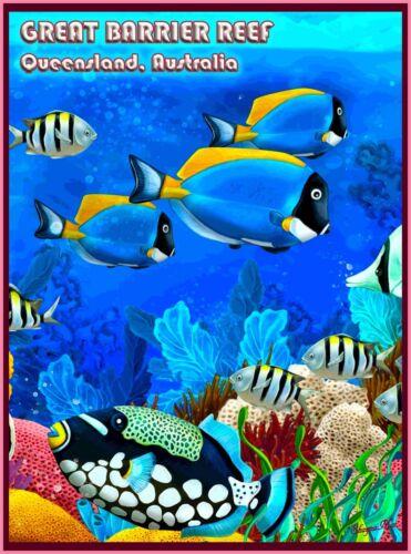 Queensland The Great Barrier Reef Fish Australia Travel Advertisement Poster