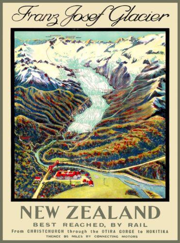 Franz Joseph Glacier New Zealand Vintage Travel Advertisement Art Poster Print
